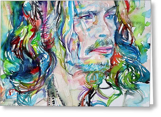 Steven Tyler - Watercolor Portrait Greeting Card