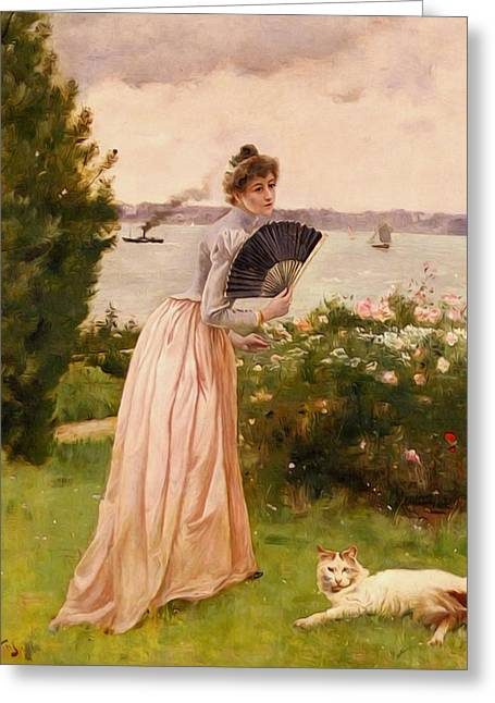 Stevens Alfred La Dame A L Eventail Greeting Card by Alfred Stevens