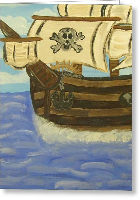 Pirate Ship Greeting Cards - Steves Spooky Ship Greeting Card by Eva  Dunham