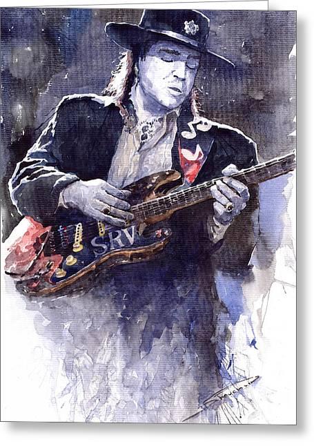 Stevie Ray Vaughan 1 Greeting Card by Yuriy  Shevchuk