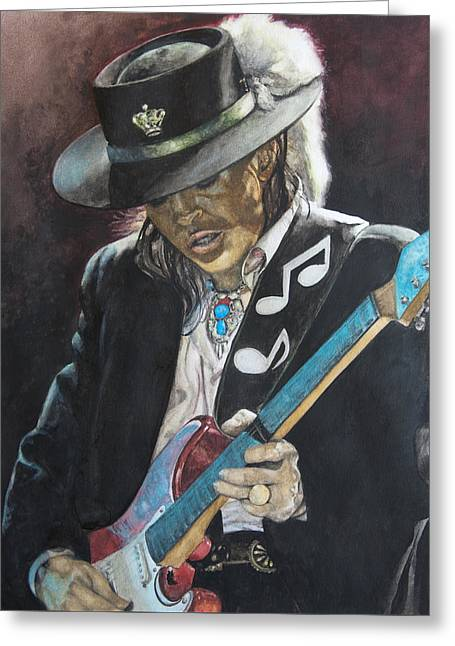 Greeting Card featuring the painting Stevie Ray Vaughan  by Lance Gebhardt