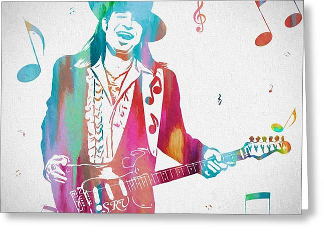 Stevie Ray Vaughan Music Man Greeting Card by Dan Sproul