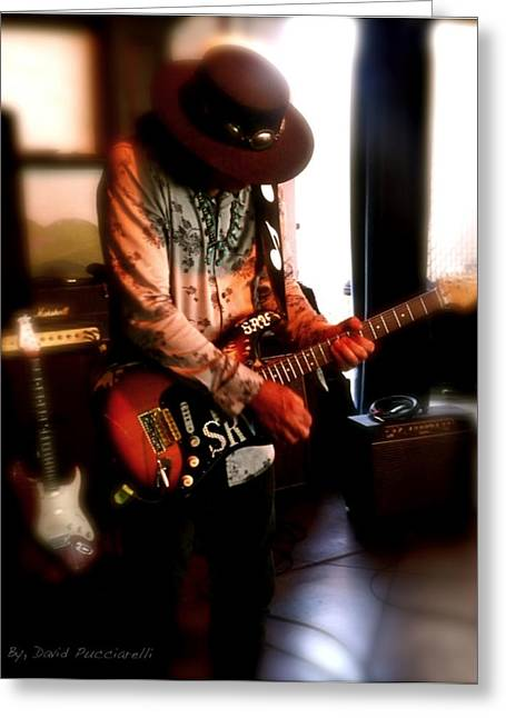 Stevie Ray Vaughan Reflections   Greeting Card by Iconic Images Art Gallery David Pucciarelli