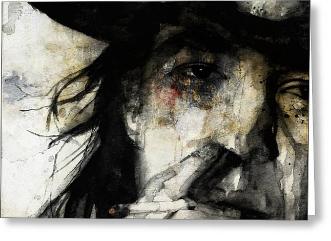 Stevie Ray Vaughan Retro Greeting Card by Paul Lovering