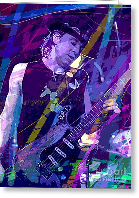 Best Seller Paintings Greeting Cards - Stevie Ray Vaughan Sustain Greeting Card by David Lloyd Glover