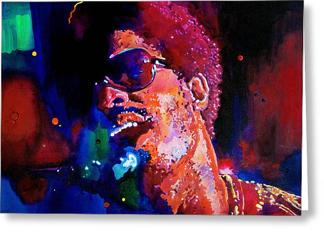 Celebrity Portrait Greeting Cards - Stevie Wonder Greeting Card by David Lloyd Glover