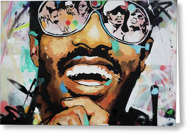 Greeting Card featuring the painting Stevie Wonder Portrait by Richard Day