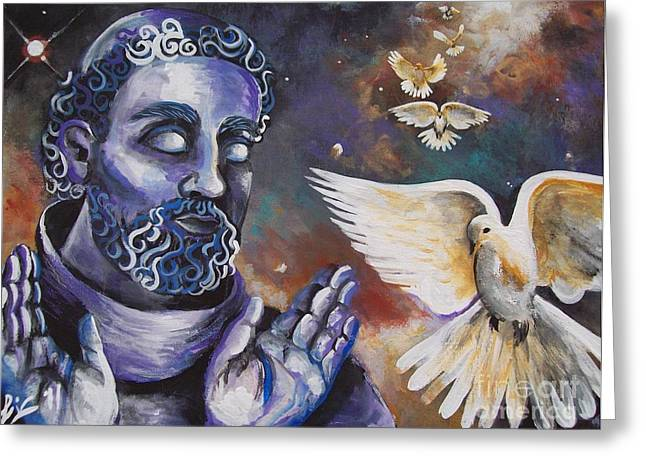 St.francis And The Birds Greeting Card by Olivia Candille