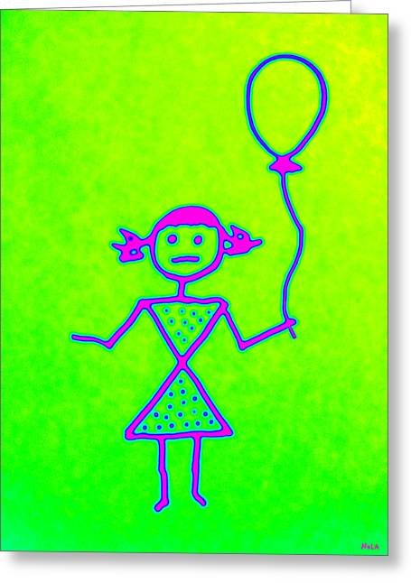 Pink Girl With Balloon Greeting Card
