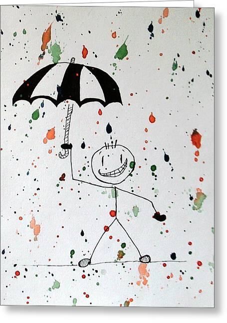 Stickman In The Rain Greeting Card by Deimante Kajataite