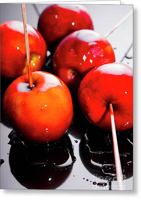 Sticky Red Toffee Apple Childhood Treat Greeting Card by Jorgo Photography - Wall Art Gallery