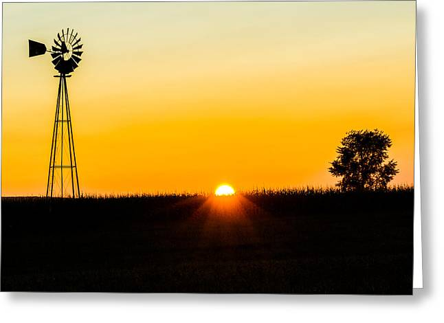 Still Country Sunset Silhouette Greeting Card by Chris Bordeleau