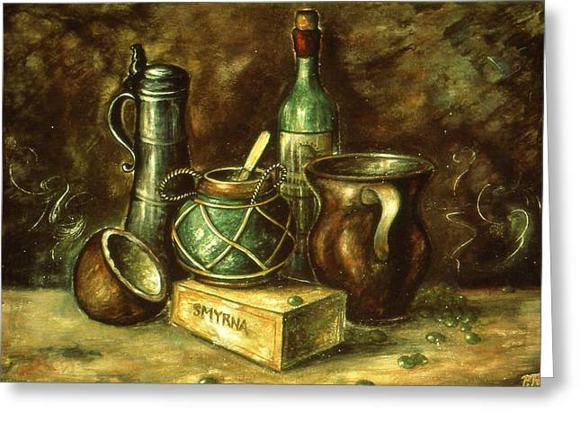 Still Life 72 - Oil Greeting Card by Art America Gallery Peter Potter