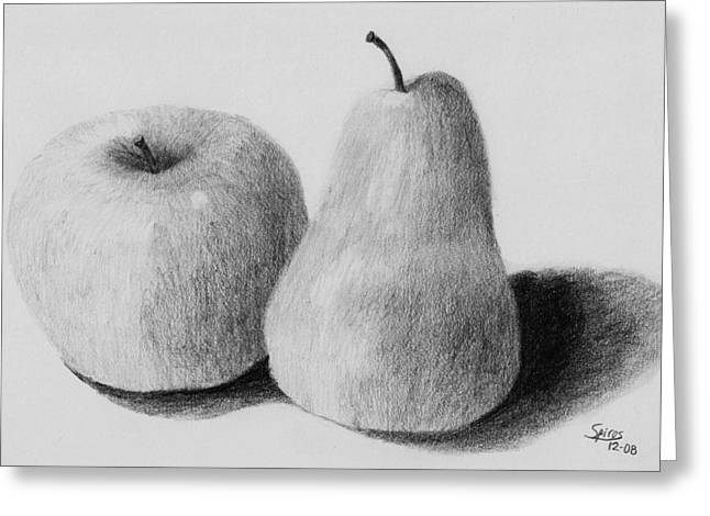Still Life Apple Pear Greeting Card by Spiros Antonellos