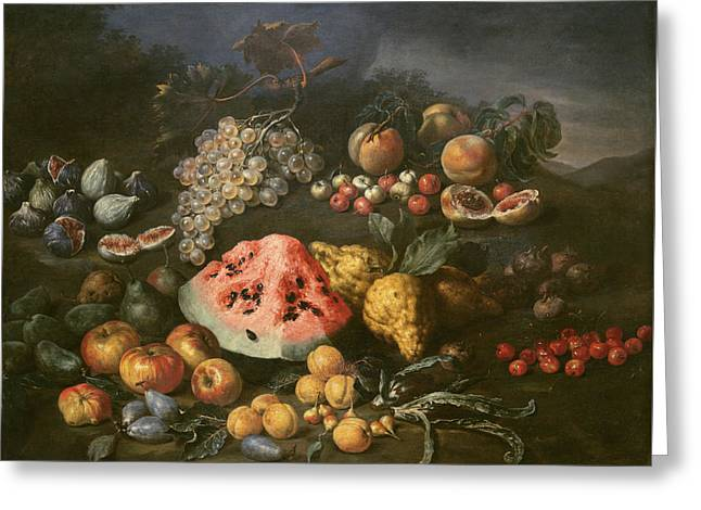 Still Life Greeting Card by Bartolomeo Bimbi