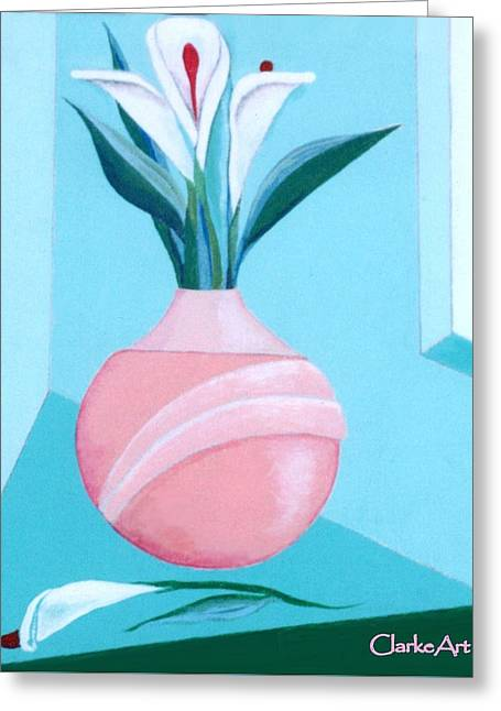 Still Life - Calla Lily Greeting Card by Jean Clarke
