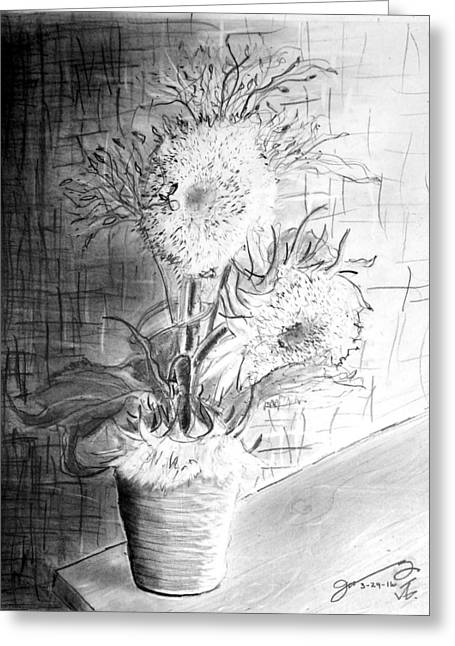 Still Life - Clay Vase With 3 Sunflowers Greeting Card
