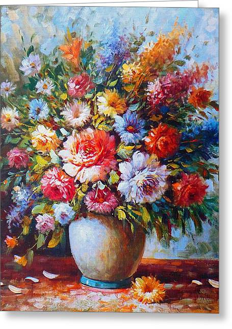 Still Life Colourful Flowers In Bloom Greeting Card
