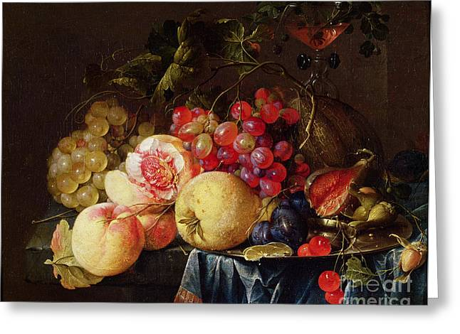 Apple Paintings Greeting Cards - Still Life Greeting Card by Cornelis de Heem
