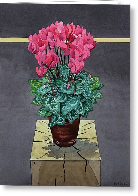Still Life Cyclamen Greeting Card