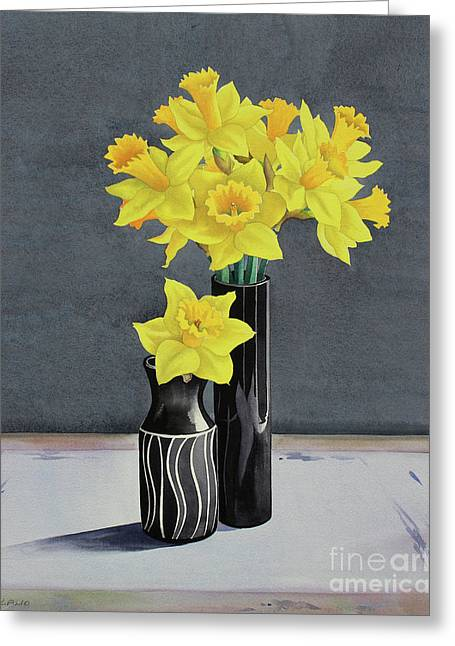Still Life Daffodils Greeting Card by Christopher Ryland