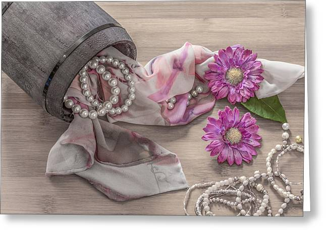 Still Life Details, Scarf And Pearls In Retro Vintage Wooden Box Greeting Card by Julian Popov