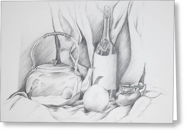 Still Life Drawing Greeting Card by Dixie Trent