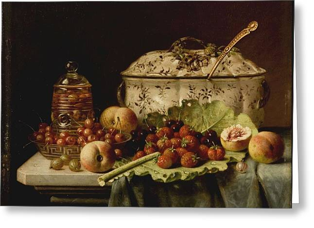 Still Life  Fruit And Dishes  Late 19th Century Oil On Panel Gottfried Schultz  German  1842  1919 Greeting Card