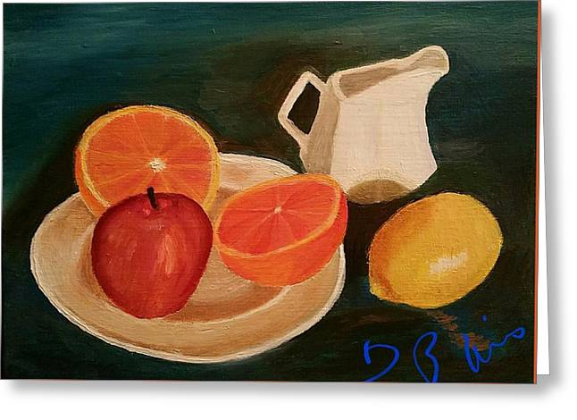 Still Life Fruit Greeting Card by Diann Blevins