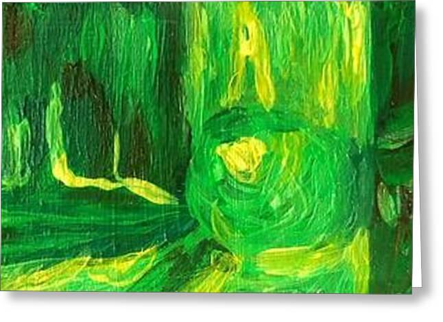 Still Life Green Greeting Card by Hatin Josee