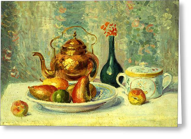 Still Life Greeting Card by Hippolyte Petitjean