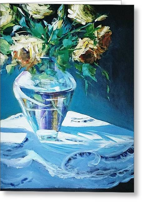 Still Life In Glass Vase Greeting Card
