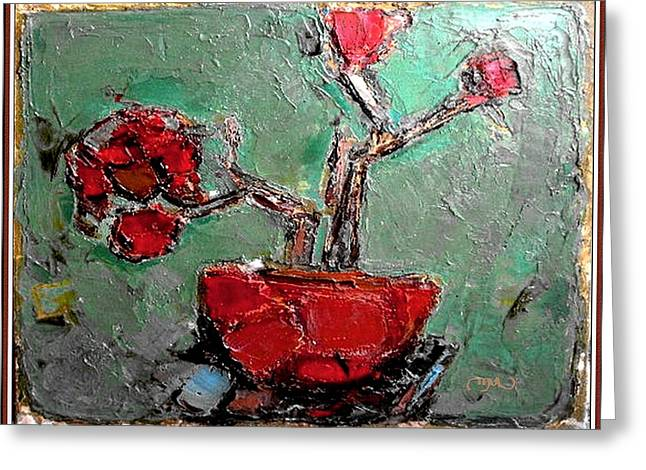 Greeting Card featuring the painting still life in red SLIR2 by Pemaro
