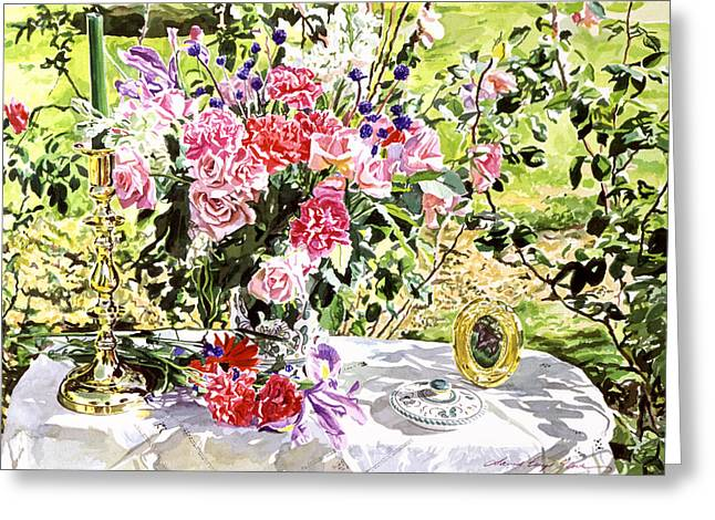 Still Life In The Artist's Garden Greeting Card by David Lloyd Glover