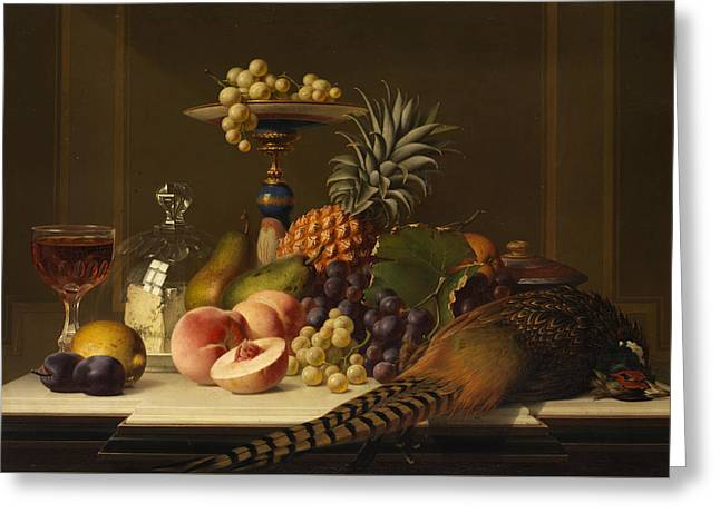 Still Life Greeting Card by Johann Wilhelm Preyer