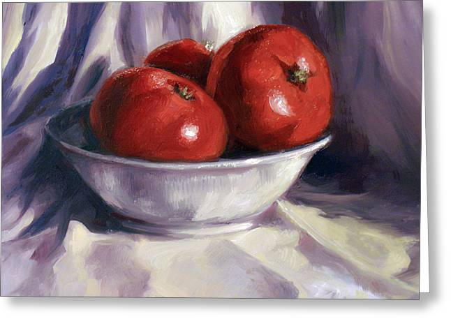 Still Life Tomatoes Greeting Card by Laura Ury