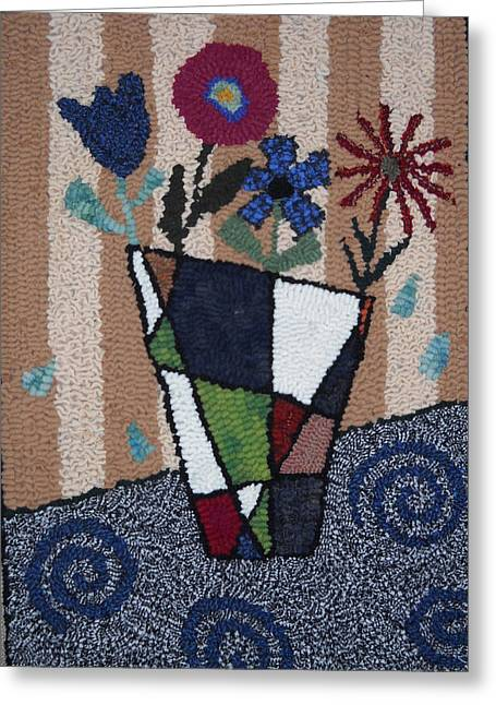 Primitive Tapestries - Textiles Greeting Cards - Still Life Line Play Greeting Card by Maureen McIlwain