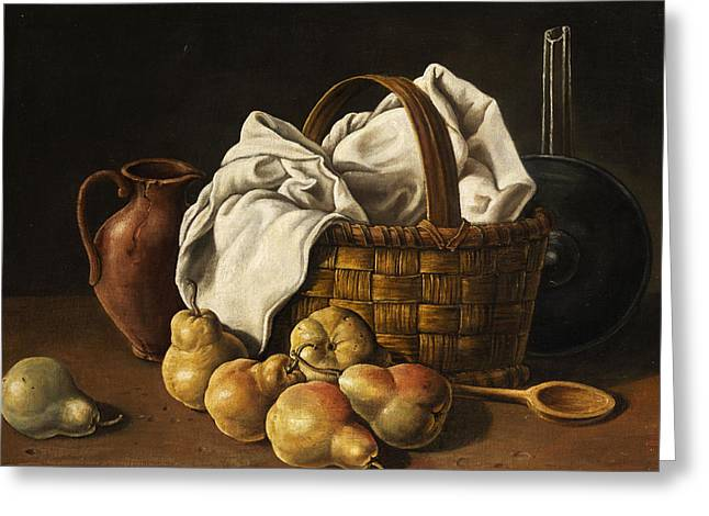 Still Life Greeting Card by Luis Melendez