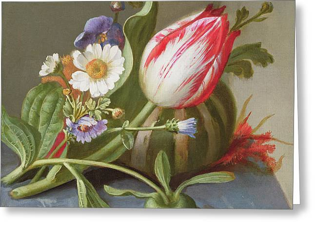 Still Life Of A Tulip, A Melon And Flowers On A Ledge Greeting Card