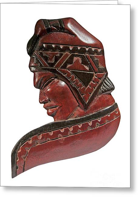 Still Life Of Brazilian Male Mask In Carved Wood Greeting Card