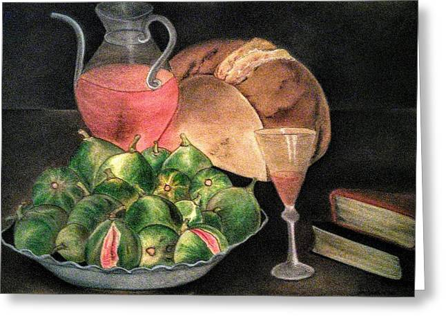 Still Life Of Figs, Wine, Bread And Books Greeting Card