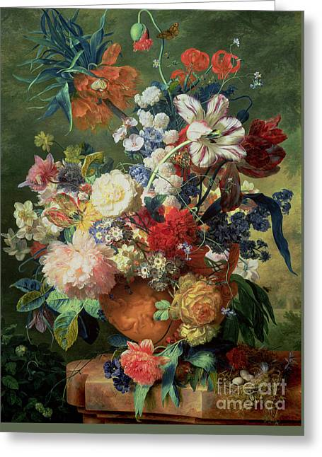 Still Life Of Flowers And A Bird's Nest On A Pedestal  Greeting Card by Jan van Huysum