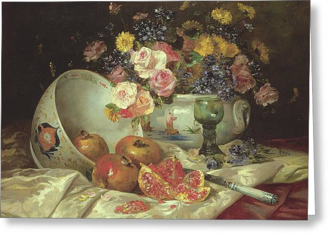 Still Life Of Flowers In A Chinese Vase With Pomegranates Greeting Card by Eugene Henri Cauchois