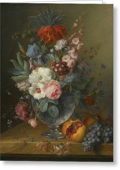 Still Life Of Flowers In A Glass Vase Greeting Card