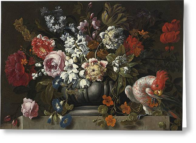 Still Life Of Flowers In A Stone Urn With A Parrot Greeting Card by Gaspar Pieter Verbruggen