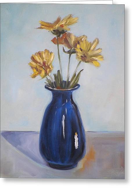 Still Life Of Flowers In Blue Vase Greeting Card by RB McGrath