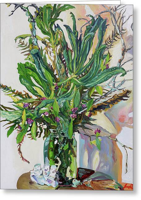 Still Life Of Kale, Fallen Twigs And Other Things That Survived The Storm Greeting Card by Joseph Demaree