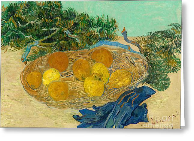 Still Life Of Oranges And Lemons With Blue Gloves, 1889 Greeting Card by Vincent Van Gogh