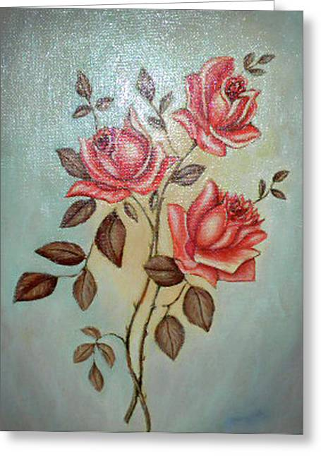 Still Life Of Pink Roses Greeting Card by Margit Armbrust