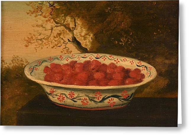 Still Life Of Raspberries In A Lowestoft Bowl Greeting Card by James Sillett